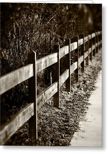 Country Fence Sepia Greeting Card
