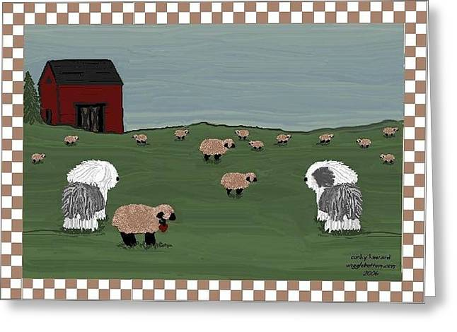 Country Field Sheepdogs Greeting Card