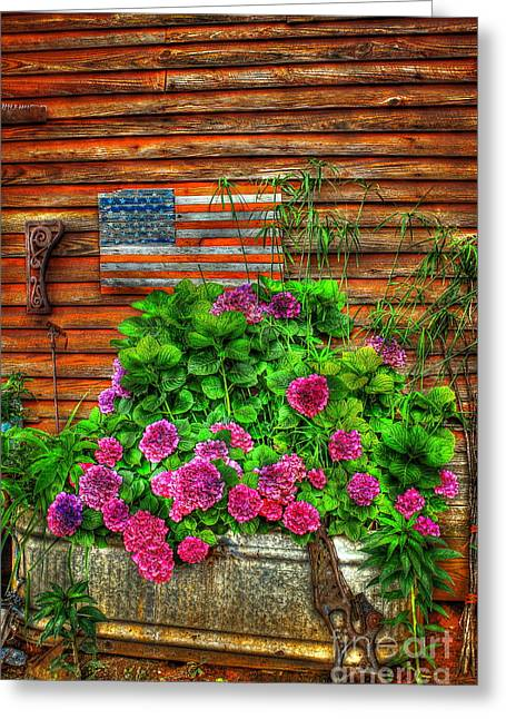 Country Flowers And Flag Greeting Card by Reid Callaway