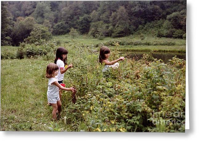 Country Girls Picking Wild Berries Greeting Card