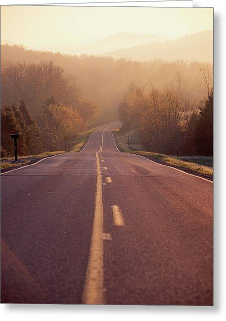 Country Highway In Morning Greeting Card by Panoramic Images