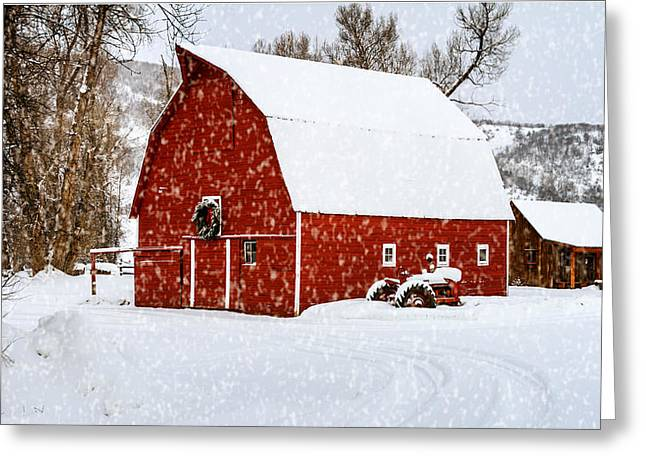 Country Holiday Barn Greeting Card by Teri Virbickis