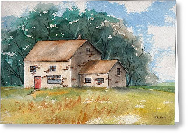 Country Home With The Red Door Greeting Card