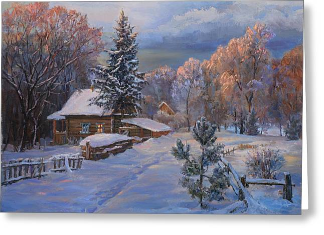 Country House In Winter Greeting Card