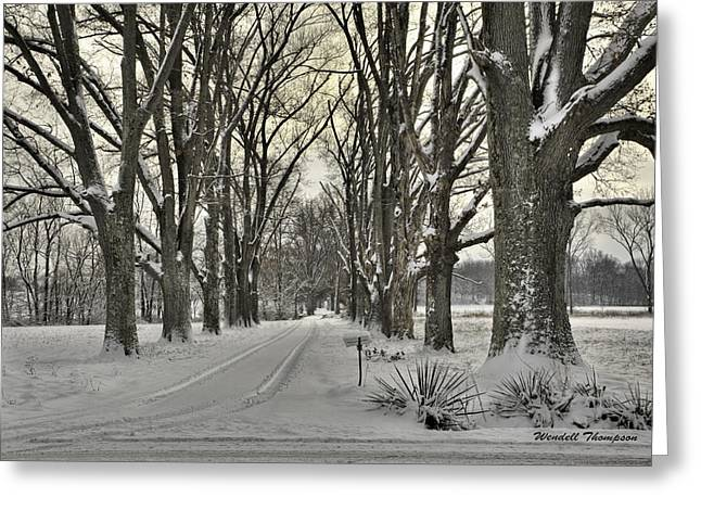 Country Lane In Winter Greeting Card by Wendell Thompson
