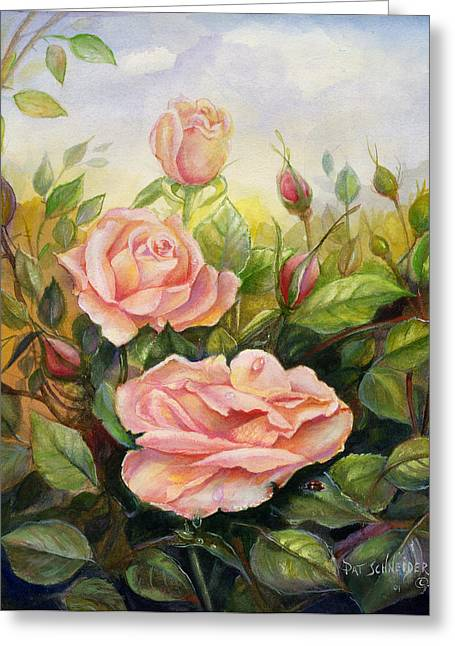 Greeting Card featuring the painting Country Living Rose by Patricia Schneider Mitchell