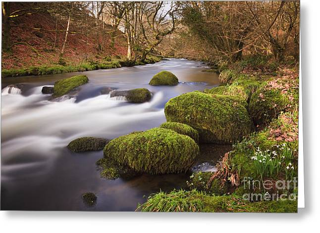 Country River Scene Wales Greeting Card by Pearl Bucknall
