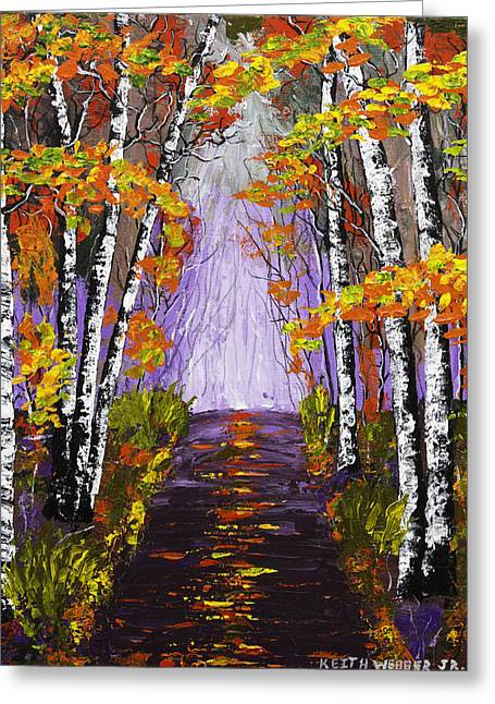Country Road And Birch Trees In Fall Painting Greeting Card