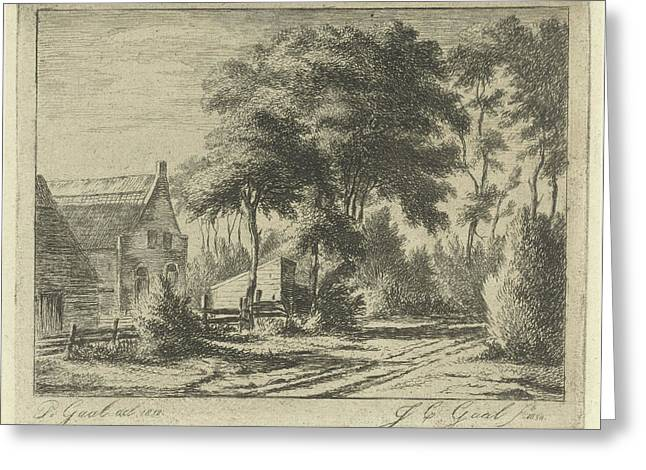 Country Road At A Farm, Jacobus Cornelis Gaal Greeting Card by Jacobus Cornelis Gaal