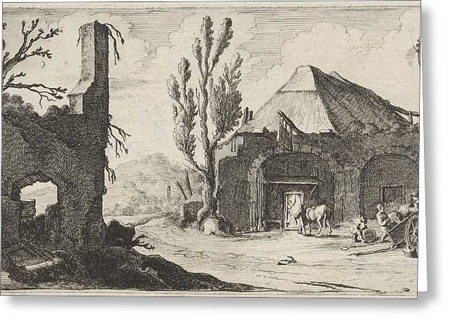 Country Road At A Ruin And An Inn, Gillis Van Scheyndel Greeting Card