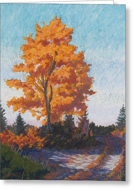Greeting Card featuring the painting Country Road Cold Fall Morning by Robert Decker