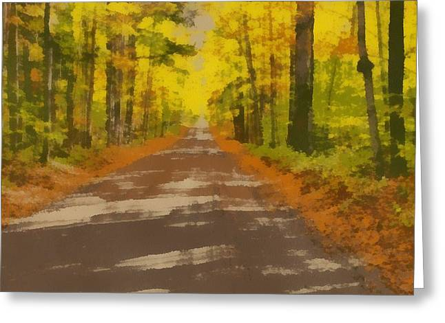 Country Road In Autumn Greeting Card by Dan Sproul