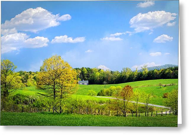 Country Road In Blue Ridge Greeting Card by Debra and Dave Vanderlaan