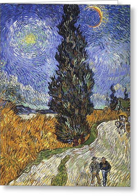 Country Road In Provence By Night Greeting Card by Vincent van Gogh