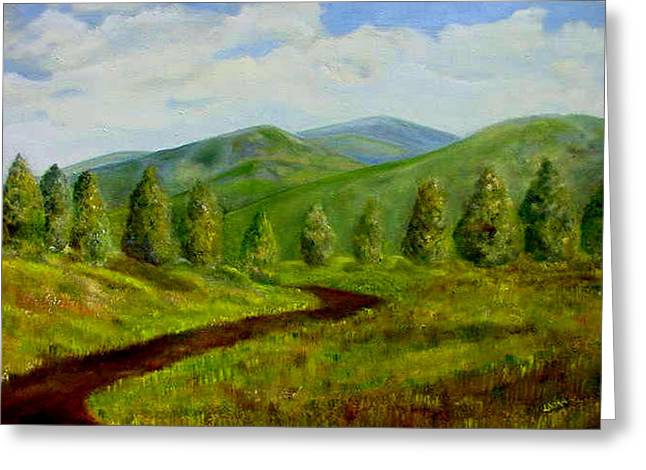 Country Road Greeting Card by Laura Corebello