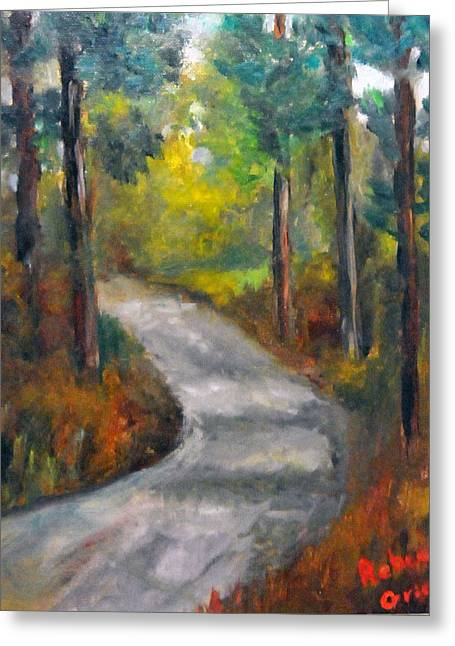 Country Road Greeting Card by Rebecca Grice
