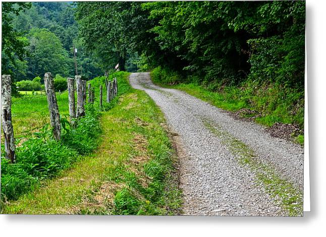 Country Road Greeting Card by Frozen in Time Fine Art Photography