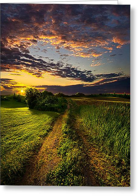 Country Roads Take Me Home Greeting Card by Phil Koch
