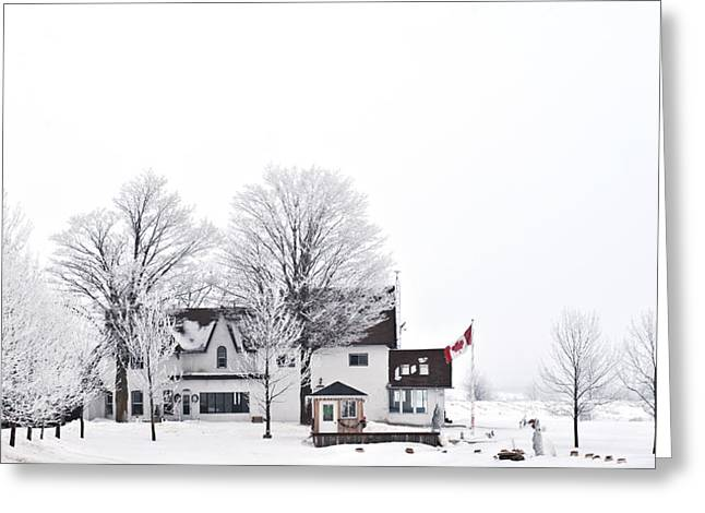 Country Side House In Canada Winter Time Greeting Card by Marek Poplawski