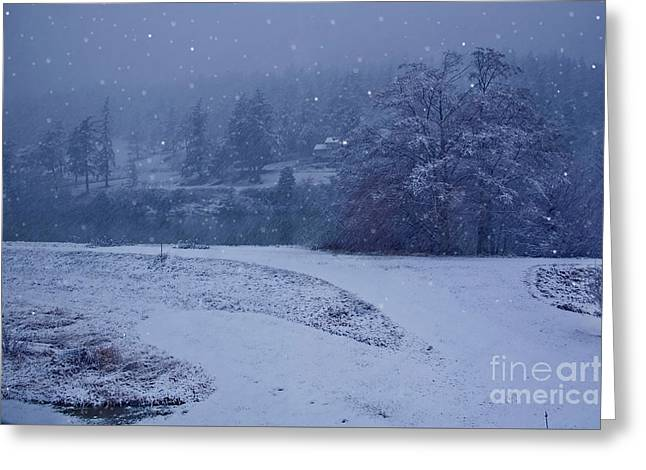 Greeting Card featuring the photograph Country Snowstorm Landscape Art Prints by Valerie Garner