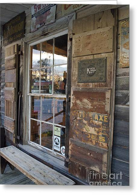 Country Store Reflections  Greeting Card by Debra Johnson
