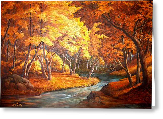 Country Stream In The Fall Greeting Card