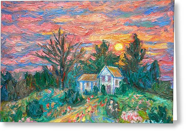 Country Sunset Greeting Card by Kendall Kessler