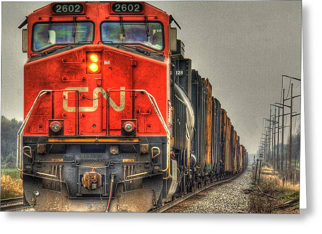 Country Train Hdr Greeting Card by Thomas Young