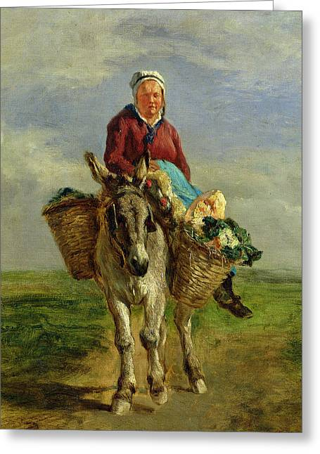 Country Woman Riding A Donkey Greeting Card by Constant-Emile Troyon
