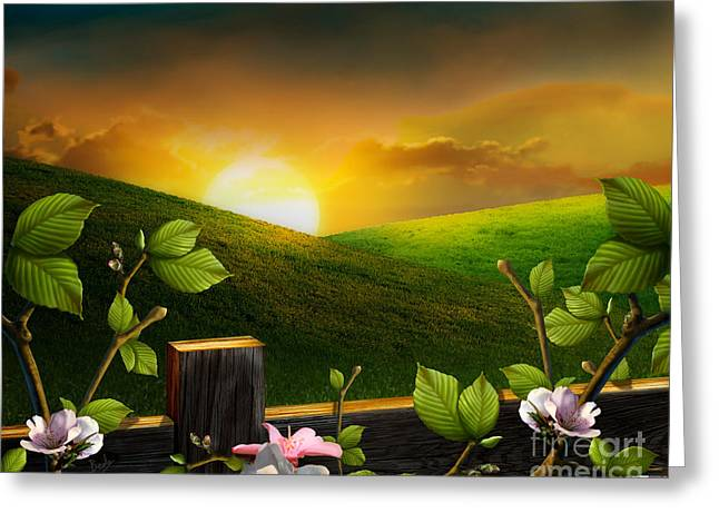 Countryside Sunset Greeting Card by Bedros Awak