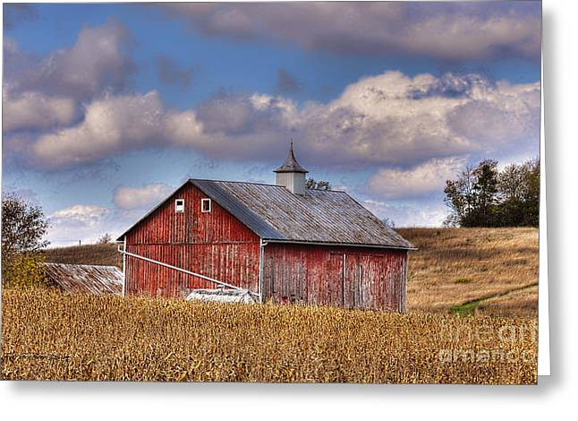 County G Barn In Autumn Greeting Card by Trey Foerster
