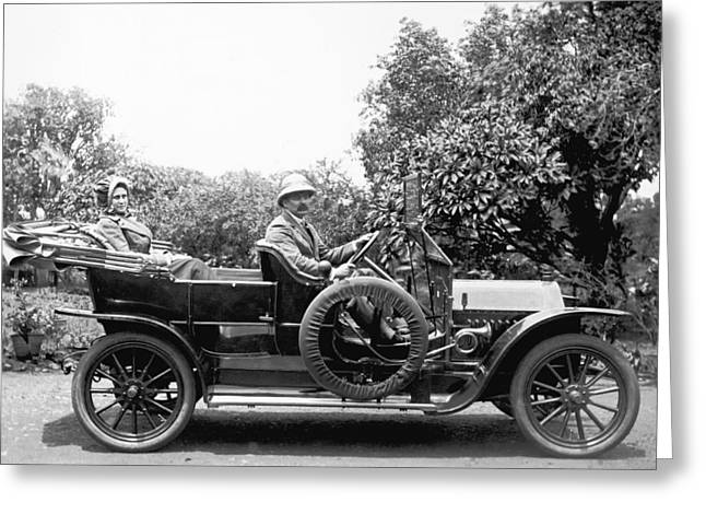 Couple In A Car In India Greeting Card by Underwood Archives