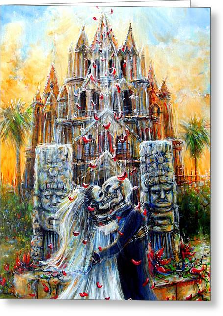 Greeting Card featuring the painting Couple In Love by Heather Calderon