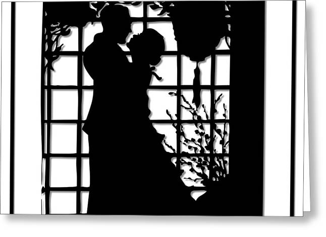 Couple In Love Silhouette Greeting Card