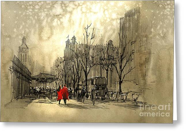 Couple In Red Walking On Street Of Greeting Card