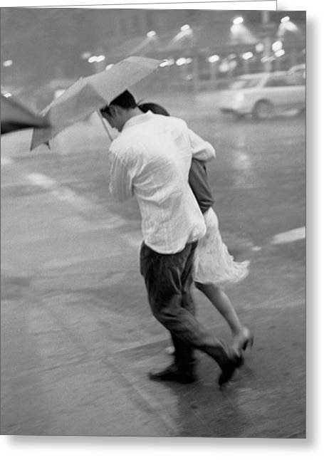 Couple In The Rain Greeting Card