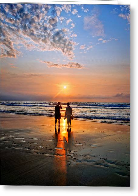 Couple On Beach At Sunset Greeting Card