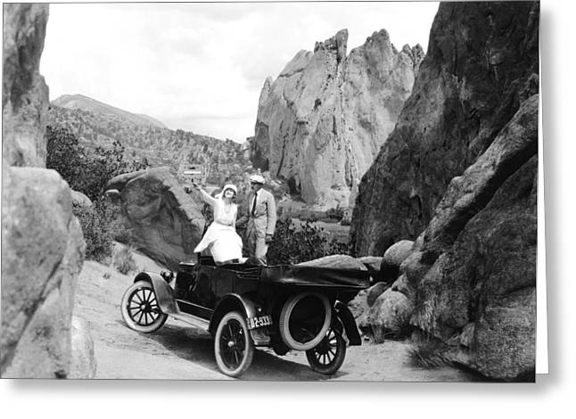 Couple Out For A Ride Greeting Card by Underwood Archives