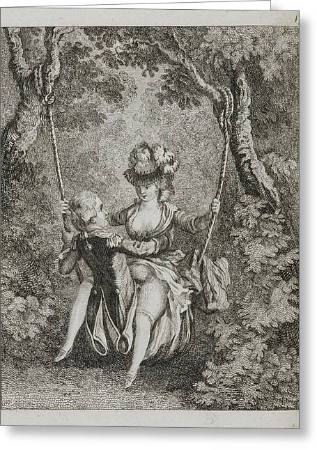 Couple Swinging On A Swing Greeting Card by British Library
