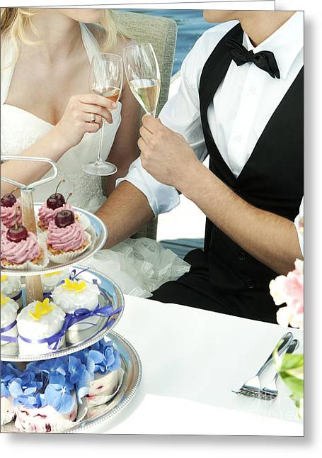 Couple Toasting At Wedding Greeting Card by Jacek Malipan