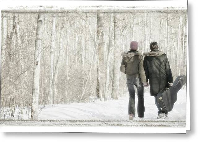 Couple Walk With Guitar Greeting Card by Don Hammond