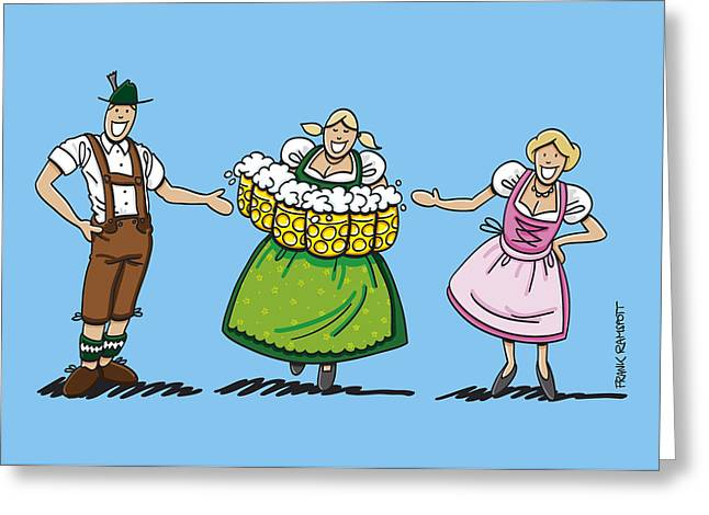 Couple Welcomes Oktoberfest Beer Waitress Greeting Card by Frank Ramspott