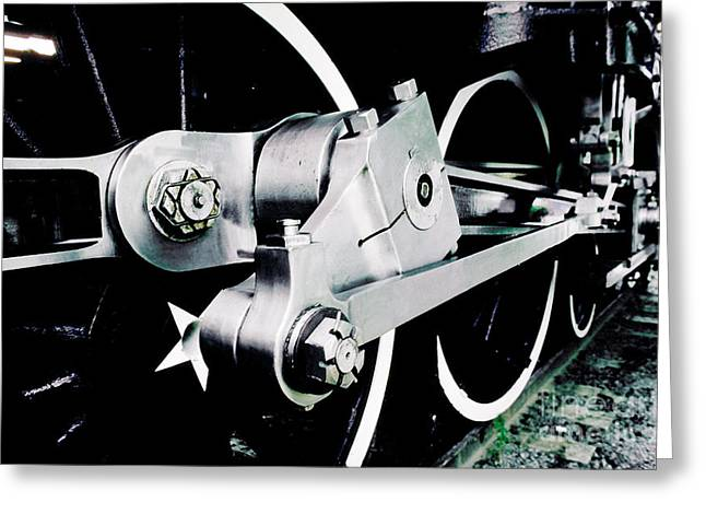 Coupling Rods And Driver Wheels For A Steam Locomotive Greeting Card by Wernher Krutein
