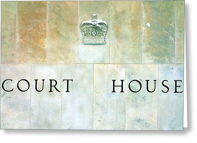 Court House Sign Greeting Card by Valentino Visentini