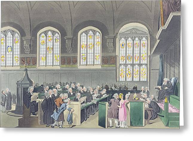 Court Of Chancery, Lincolns Inn Hall, Engraved By Constantine Stadler Fl.1780-1812, 1808 Coloured Greeting Card by T. Rowlandson