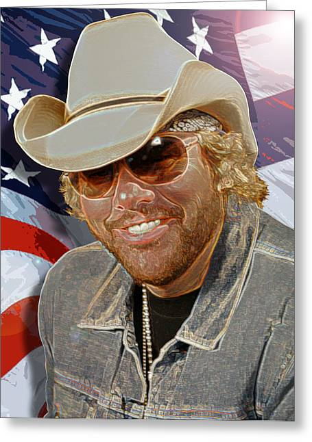Courtesy Of The Red White And Blue  Toby Keith Greeting Card by Don Olea