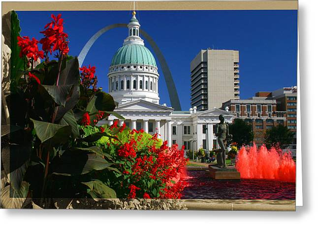 Courthouse Arch Skyline Fountain Greeting Card