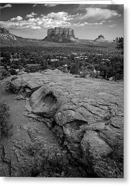 Courthouse Butte In Sedona Bw Greeting Card by Dave Garner