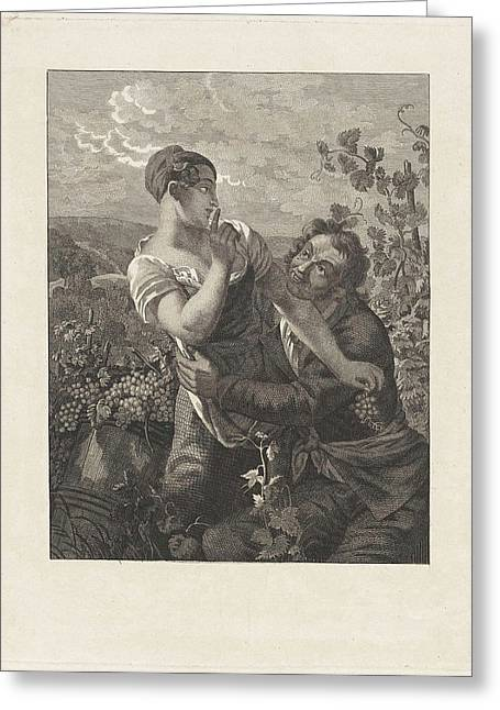 Courting Couple In A Vineyard, Anonymous Greeting Card