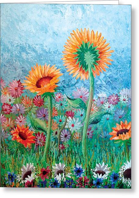 Courting Sunflowers Greeting Card